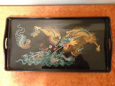 Chinese Lacquer Serving Tray - Motif Dragon - China - 32 cm x 61 CM