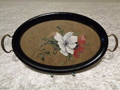 Antique Serving Tray with Watercolour under glass - um 1900 - Vintage - Length
