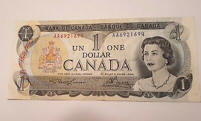 1973 Bank of Canada $1 Dollar Banknote (Lawson-Bouey) Prefix # AA 6921694