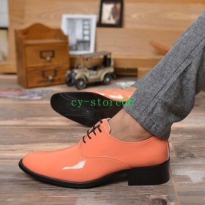 2020 Mens Shiny Leather Lace Up Dress Formal Wedding Pointy Toe Cuban Heel Shoes