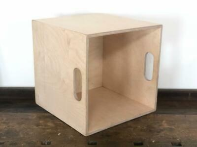 "Vinyl Records Storage Crate Box Cube Stackable Lp 12"" Handmade Birch Plywood"