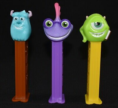 3 X Collectable Used Disney Pixar Monsters Inc Pez Dispensers Mike Sully Randall