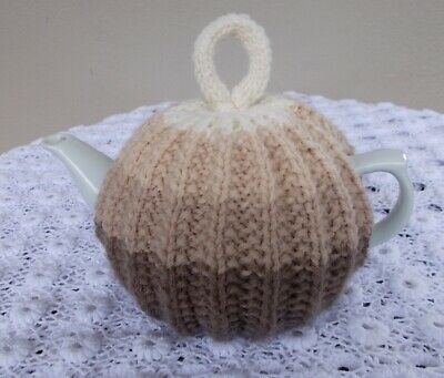 Tea Cosy - Hand Knitted Cosy In Neutral Colours (Cozy-Cosie)