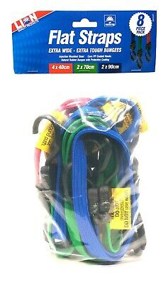 Lion FLAT STRAP BUNGEE CORDS 8Pcs Assorted Sizes, PP Coated Steel Hooks
