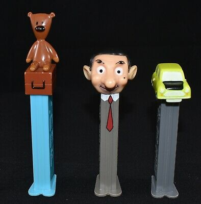 3 X Collectable Used Mr Bean Pez Dispensers Mr Bean Teddy Car
