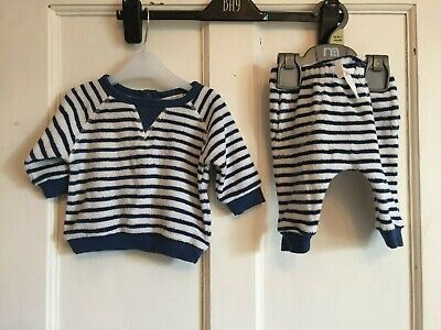 Baby Boys Navy Striped 2 Piece Set, Top & Trousers from Next Age up to 3 months