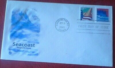 First day of issue, 2002 Seacoast Non-profit dual-franked, Scott # 3693