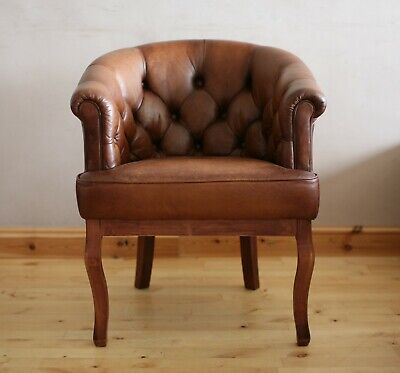 Laura Ashley Buttoned Distressed Leather Armchair / Chair