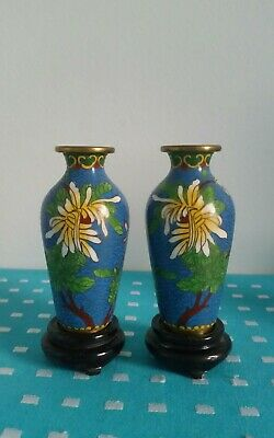 Vintage Pair Of Small Chinese Cloisonne Vases On Wooden Stands High Is 11cm