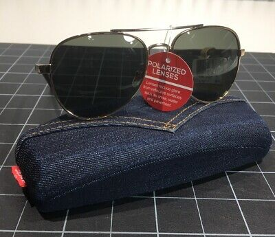 NWT Levi's Aviator Sunglasses: Gold & Tortoise Shell W/ Denim Red Tag Hard Case