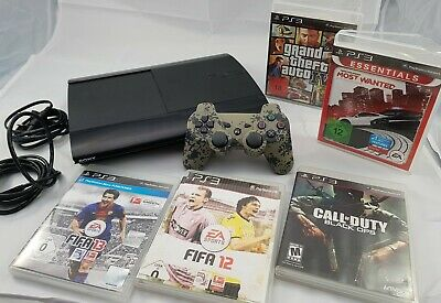 Playstation 3 PS3 500GB Super Slim Konsole + 5 Spiele + Controller Camouflage