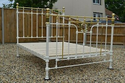 Antique Victorian 5ft King Size Brass and Iron Bedstead & new slatted bed base