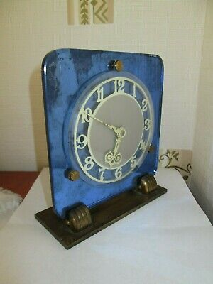 Vintage Art Deco Rare Blue Mirrored Glass Smiths Clock Made In England
