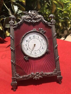 Empire Period Travel Clock Guilloche ENAMEL Silver FraMe And Brass Case