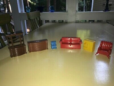 MARX Mid Century Plastic Dollhouse Furniture Living & Dining Room 6 Pieces