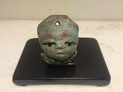 Pre-Columbian Mayan  Ancient Artifact Stone Head Pendant