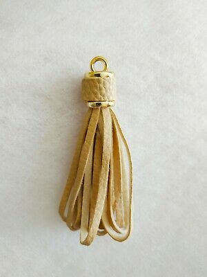 Pompon gland similicuir beige leather charm