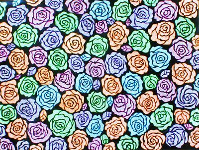 Original Abstract Pointillism Painting Acrylic Fine Art Flower Roses Flora