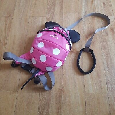 LittleLife Minnie Mouse Backpack Rucksack Safety Harness Reins Pink