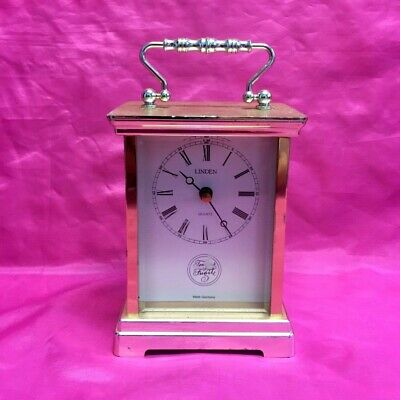 Vintage Linden Tempus Fugit Quartz Carriage Mantle Desk Clock - Nice!!