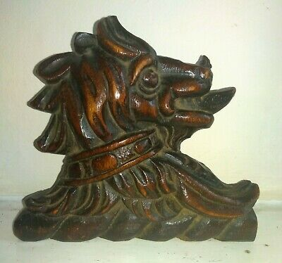 Charming 17th Century Carved Oak Dog Armorial Panel