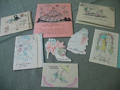 LOT 1930's VINTAGE GREETING CARDS Art Deco BRIDAL SHOWER GIFT GREETINGS Eight