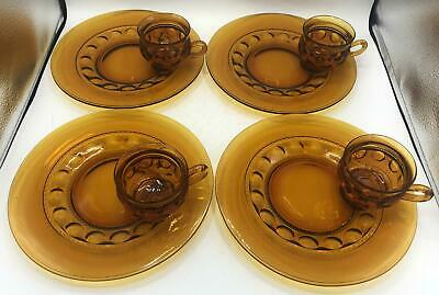 Set of 4 Vintage Indiana Glass Amber Kings Crown Thumbprint Snack Plates & Cups