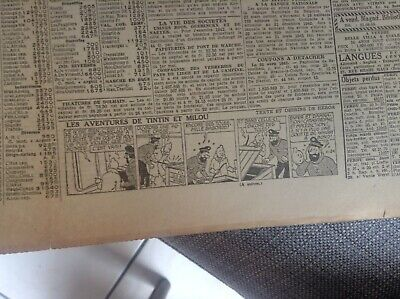 Rare ancien journal Le soir 1943 Strip Tintin BE