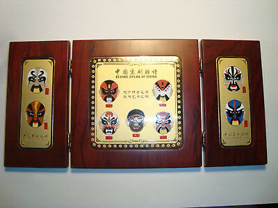 Facial Makeup of Beijing Opera of China folding wooden plaque w/enameled faces