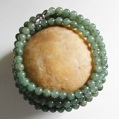 Certified Natural Jade Beautiful Icy Green Jadeite Small Beads Necklace #0069