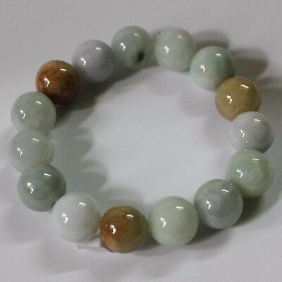 Certified Natural Jade (Grade A) Multi-Color Jadeite Beads Bracelet #J0050