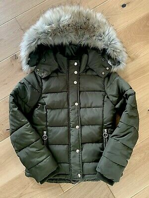 b86efebcc NEW TOPSHOP NANCY Quilted Puffer Jacket with Faux Fur Trim in Navy ...