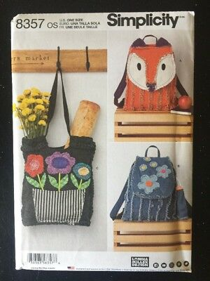 Simplicity 8357 Sewing Pattern Fox Totes Purses Bags New