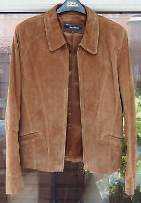 WS Ladies Tan Coloured Leather/Suede Short Jacket Size 14 excellent Quality