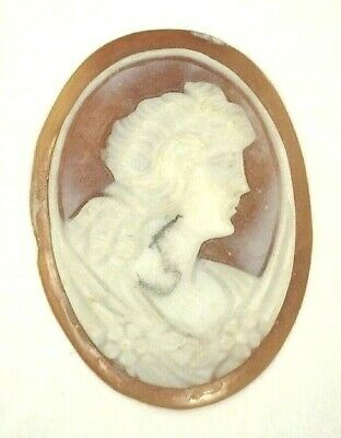 Beautiful Carved Antique Vintage Oval Shell Cameo Stone 25 mm x 18.5-19 mm UT425