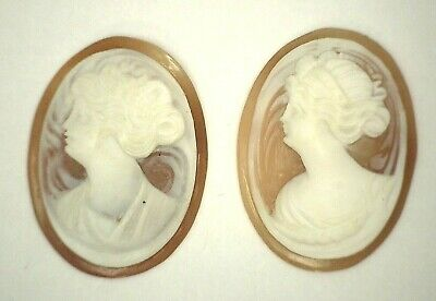 Beautiful Carved Antique Vintage Oval Shell Cameo Stone 25.5 mm x 19 mm UT423