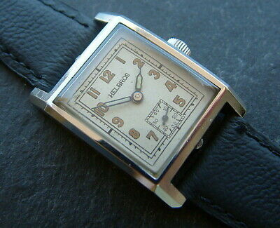 Vintage Art Deco 1930's Stainless Steel Helbros Watch; Serviced & Restored Dial