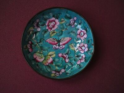 Antique Chinese Canton blue pink Cloisonne Pin Dish peach prunus peony butterfly