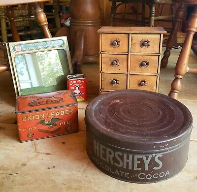 Lot Of Antiques Tins Apothecary Pine Primitive Spice Drawer Biscuit Hersheys