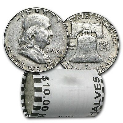 90% Silver Franklin Half Dollars - $10 Face Value Roll - Average Circulated