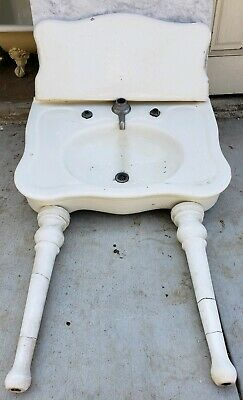 Antique sink earthenware console serpentine sink JL Mott