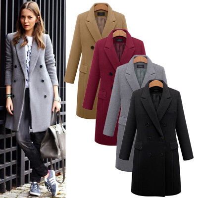 Winter Warm Women Lady Lapel Wool Coat Trench Jacket Long Parka Overcoat Outwear