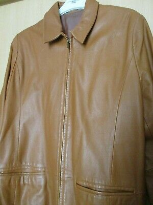 ladies tan soft leather jacket from Marks and Spencer, size 18