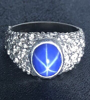 10K Solid White Gold Vintage Hand-Crafted Star Sapphire Ring 8.9 Grams!