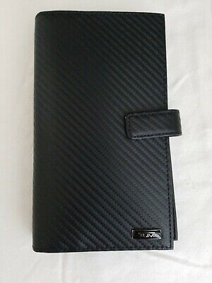 NWT Tumi Desota SLG Travel Wallet w/ Zip Black Carbon Fiber Leather Trim $195