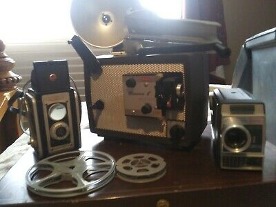 VINTAGE KODAK BROWNIE 8 PROJECTOR 8MM MODEL A15 F/1.6 WORKING! W 2 other camera