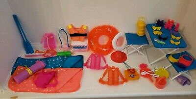 Vintage Doll Camping /Beach Lot for Barbie dolls over 40 pcs see below for items