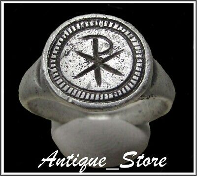 ** CHI-RHO **Ancient Silver Legionary Roman Ring **AMAZING **
