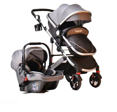 Kids Pram Travel System 3 in 1 Combi Stroller Buggy Baby Child Pushchair - Grey