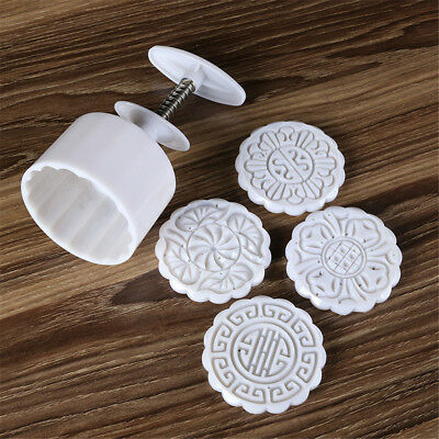 4 stamps flower mooncake moon cake diy round mold baking craft tool set Pz
